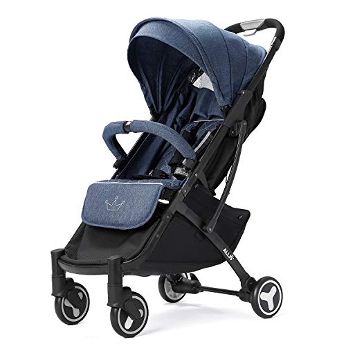 Allis Plume Lightweight Baby Travel Pram, Lightweight Stroller Pushchair with Independent Four Wheel Suspension and Five Point Harness, Baby Stroller for Babies from 6 Months (Denim Blue)