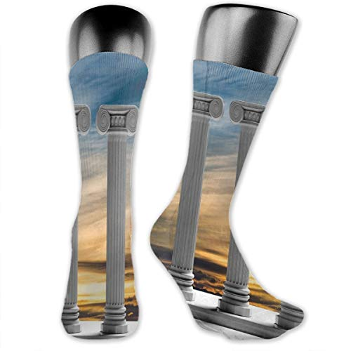 Compression Medium Calf Socks,Antique Theme Three Ancient Marble Pillars At Sunset Sky Digital Image