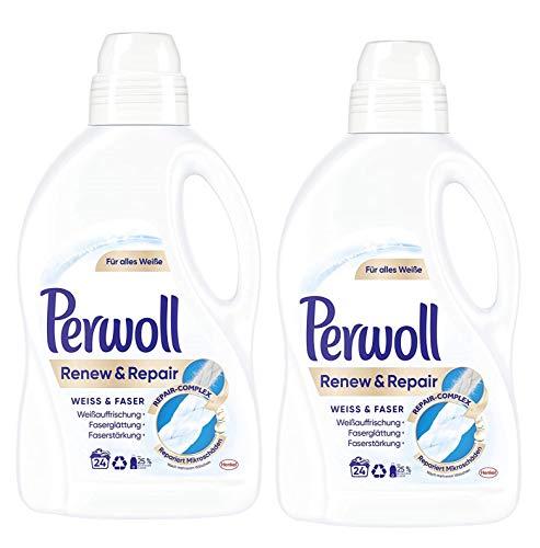 Perwoll Renew und Repair Weiß und Faser Feinwaschmittel, 48 (2 x 24) Waschladungen, für weiße Wäsche