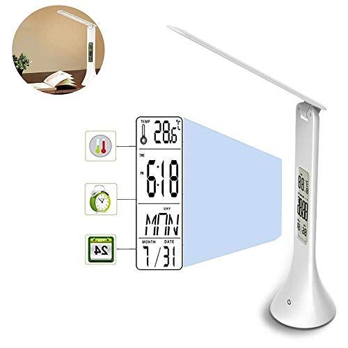Zengkei LED Lampada da Scrivania, 3 Luminosità Livelle Eye-Caring Tavolo con Allarme Calendario Espositori, Sensibile Controllo Touch, Portatile Luce di Lettura Per Ufficio, Casa, Studiare, Lavoro