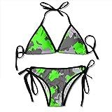 zhkx Bikini Neon-Green-Gray-Camouflage-Bright-Seamless Bikini Set Two Piece,Triangle Padded Cut out Swimsuit for Ladies Swimming Costume