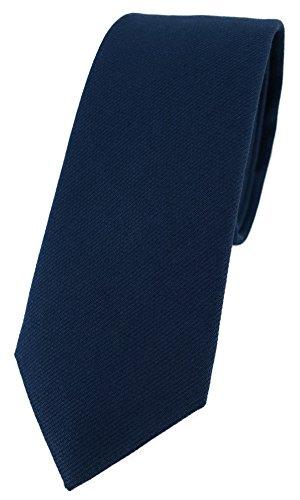 TigerTie schmale Designer Krawatte in marine Uni - 100% Baumwolle - Krawattenbreite 6 cm
