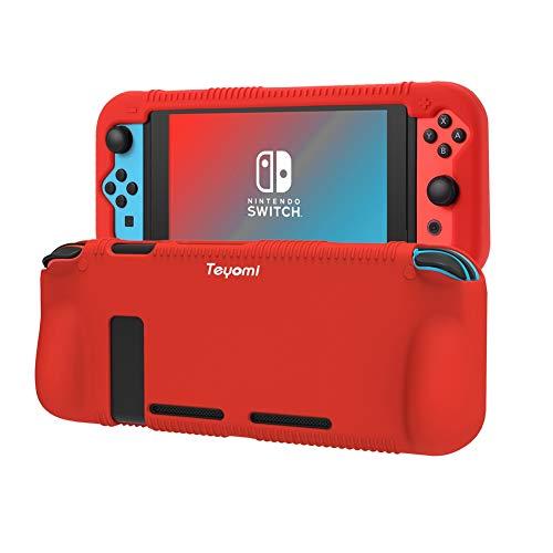 Teyomi Custodia per Nintendo Switch, Cover Protettiva per Custodia in Silicone con 2 Fessure per Carte Da Gioco, Assorbimento Degli Urti e Antigraffio (Rosso)