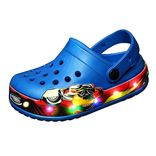 Unisex Bambino Moda Sandali,LED Luminoso Leggero Casuale Scarpe Sportive all'aperto Estate Spiaggia Antiscivolo Pantofole con Fori (34 EU, Blu 02)