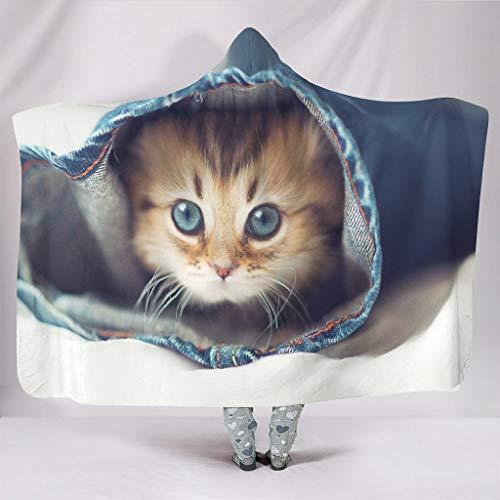Fineiwillgo Bonito gato escondido en los pantalones, sudadera con capucha, muy suave y cómoda, sudadera con capucha, para estudiantes, para dormir, sofá o silla, color blanco, 150 x 200 cm