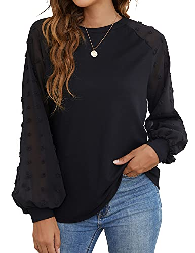 Blooming Jelly Womens Long Sleeve Blouses Shirts Elegant Knit Mesh Pom Pom Casual Loose Tops(Large,Black)