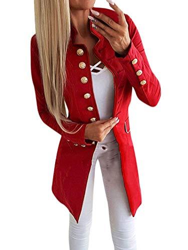 Tomwell Damen Blazer Elegant Mantel mit Knopfleiste Military Coat Lang Blazer Slim Fit Blazer Freizeit Stehkragen Business Büro Anzug Jacken Rot DE 40