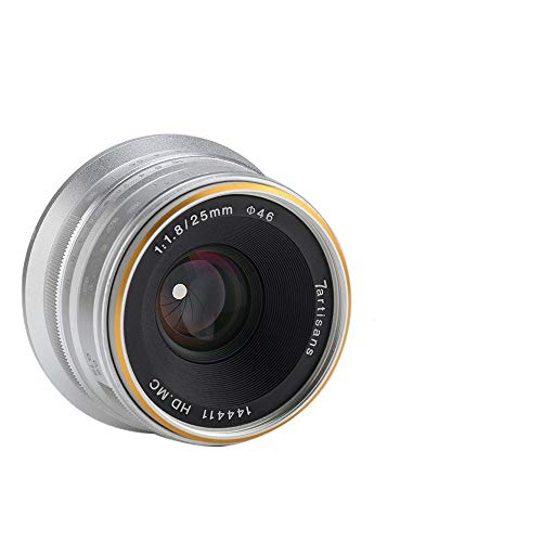 Rabusion Electronics For 7 artisans 25mm F1.8 Manual Focus Prime Fixed Lens for Cameras White Sony interface