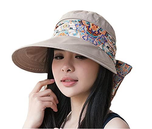 Rolling 2-IN-1 Roll Up Wide Brim Sun Visor Cap UPF 50+ UV Protección Sol sombrero con cabina protector de cuello desmontable for viajar Playa de vacaciones Natación Ciclismo Camping Senderismo Senderi