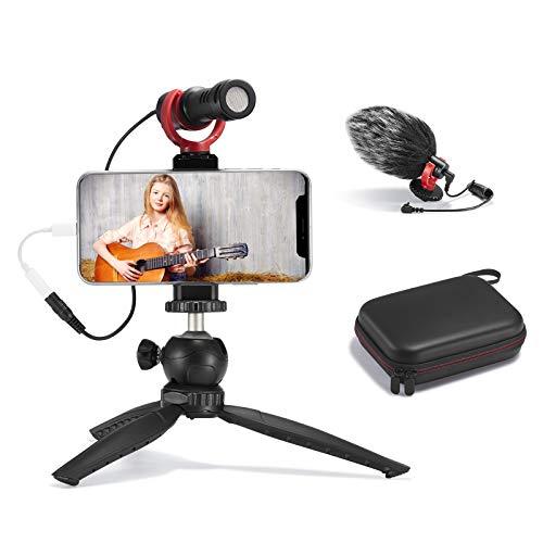 FULAIM Smartphone-Video-Mikrofon-Set, Shotgun Mic Rig Videoaufnahme Zubehör mit Handyhalterung Stativ kompatibel mit iPhone Xs Max 11 Pro 8 Plus 7 Samsung Huawei usw. für TikTok YouTube Vlogging
