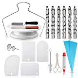 73 Pcs Cake Decorating Supplies - Professional Cupcake Decorating Kit | Baking Supplies | Rotating Turntable Stand, Frosting & Piping Bags and Tips Set, Icing Spatula and Smoother, Pastry Tools