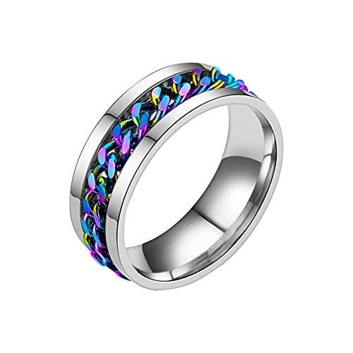 Younoo1 - Anillo de artefacto, abrebotellas con cadena giratoria, cadena Spinner anillo de acero inoxidable, ansiedad para mujeres y hombres