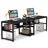 Tribesigns Two Person Desk with Bookshelf, 78.7 Computer Office Double Desk for Two Person, Rustic Writing Desk Workstation with Shelf for Home Office (Black)