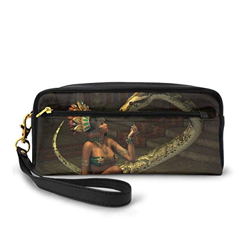 Pencil Case Pen Bag Pouch Stationary,Mystery Dark Skin Girl with Headdress Eye to Eye with Huge Snake,Small Makeup Bag Coin Purse