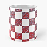 Chessboard Glitter Croatia - Taza de café de cerámica blanca (11 oz), color blanco