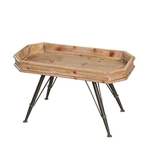 JCNFA BIJZETTAFEL Groove Salontafel, Vintage Massief Houten Bijzettafel, Vierkante Salontafel In Industriële Stijl, Metalen Poten (Color : Wood, Size : 31.10 * 15.35 * 18.20in)
