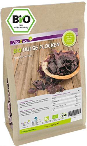 Dulse Flocken Bio | 100g | getrocknet | Lappentang | Aus dem Atlantik | Rotalgen im Zippbeutel | Premium Qualität