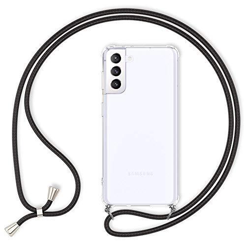 Kaliroo Claro Necklace Case Compatible con Samsung Galaxy S21 Plus Funda, Transparente Carcasa Protectora Rigida con Cordon, Delgado Cubierta Resistente Hardcover & Correa Colgante, Color:Negro