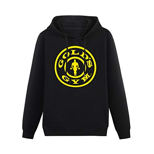 Mens HeavyweightHooded Golds Gym Workout Weight Lifting Training Hoodies Pullover Long Sleeve Sweatshirts l Black