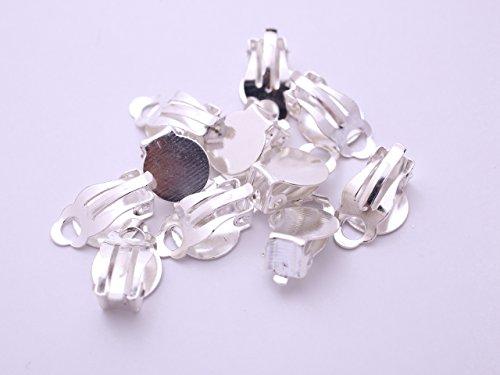 紗や工房 平板クリップパーツ 丸型(約16.5x10mm) 約10個 白銀 台座付き シューズクリップパーツ ブローチ金具 副資材 手芸材料 部品 雑貨