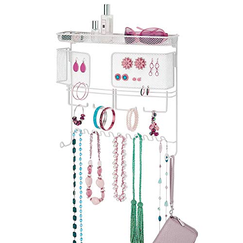 mDesign Decorative Metal Closet Wall Mount Jewelry Accessory Organizer for Storage of Necklaces Bracelets Rings Earrings Sunglasses Wallets  17 Hooks 2 Mesh Swing Panels1 Basket  White