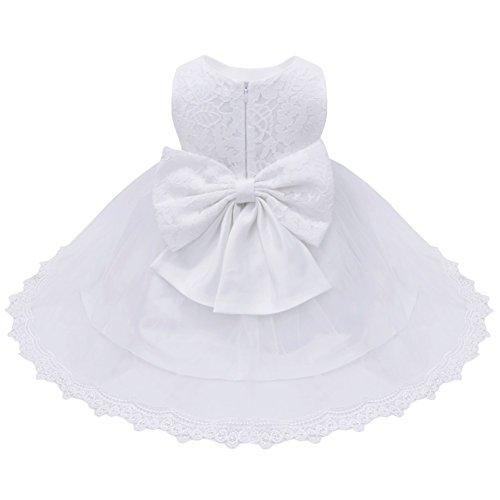 iiniim Bébé Fille Lace Robe de Mariage soirée Dentelle Tulle Florale Noeud Papillon Robes Princesse Baptême 3-24 Mois Blanc 6-9 Mois