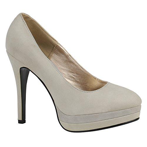 Damen Pumps High Heels Plateaupumps Lack Stiletto Elegante Schuhe 157166 Grau Camiri 36 Flandell
