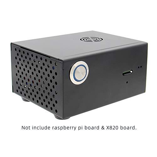 Geekworm Raspberry Pi X820 Gehäuse mit Netzkontrollschalter und Kühlventilator, für Raspberry Pi 3 und X820 V3.0 SSD / HDD SATA Karte