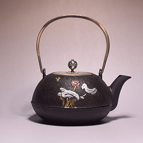 M-CH Tetera Teteras Tetera Hecha a Mano de Tetera de té de Hierro Fundido de té Soltero té té para té Suelto té Resistente al Calor Tetera de Hoja Suelta Filtro de Tetera (Color : Small Lotus)