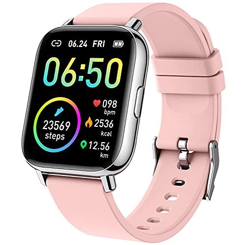 Montre Connectée Femme Homme, 1.69 Pouce Smartwatch Etanche IP68 Podometre Montre Sport avec Fréquence Cardiaque Moniteur de Sommeil, Bracelet Connecté Chronometre 24 Modes Sport pour Android iOS Rose
