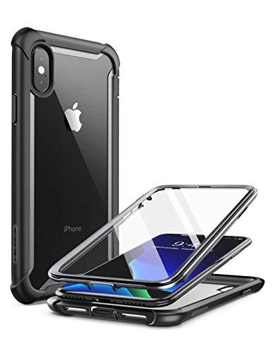 i-Blason iPhone XS Hülle iPhone X Hülle [Ares] Handyhülle 360 Grad Bumper Hülle Robust Schutzhülle Clear Cover mit integriertem Bildschirmschutz für iPhone X 2017 / iPhone XS 5.8 Zoll 2018, Schwarz