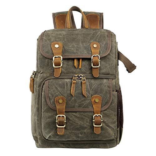 FENICAL Vintage Kamera Rucksack gewachst wasserdicht große Kapazität Leinwand Foto Rucksack Tasche für Laptop-Camcorder (grün)