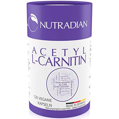 Acetyl L-Carnitin Reinsubstanz ohne Zusatzstoffe | 600 mg pro Dosis | 120 Kapseln vegan | ökologische plastikfreie Verpackung | unterstützt ketogene Diät | hergestellt in Deutschland