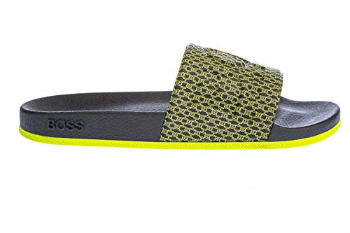 Hugo Boss Herren Badeschuhe Poolsandalen Bay Slid 50428605, Farbe:Schwarz, Schuhgröße:EUR 42, Artikel:-003 Black