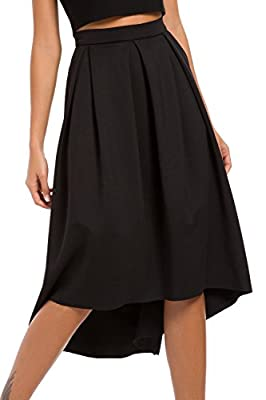 Eliacher Women Skirts Mid Length High Waisted A Line Street Skirt Skater Pleated Full Midi Skirt with Pockets