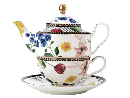 Maxwell & Williams HV0008 Teas & C's One Teekanne und Tasse Set Contessa, porzellan, weiß