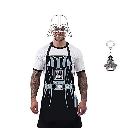 uxosuz Darth Vader Star Wars BBQ Apron for Men Student Child Kitchen Cosplay Boyfriend Father Gift with Bottle Opener Set