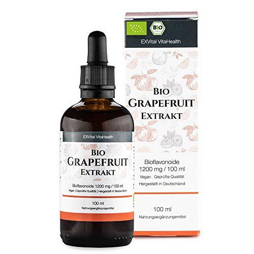 """EXVital Bio Grapefruitkernextrakt, 1200mg Bioflavonoide / 100ml. Laborgeprüft und Biozertifiziert. 2600 mg Grapefruit Extrakt aus Kern und Schale. Hochdosiert, vegan. ApoTest:\""""Sehr gut\"""""""