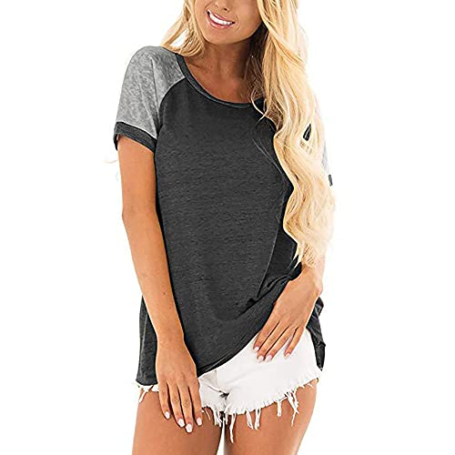 Elesoon Camiseta de verano para mujer de manga corta, estilo raglán, color liso, liso, con cuello redondo, suelto, blusa, A-gris oscuro, 44
