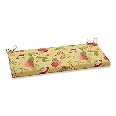 "Pillow Perfect Outdoor/Indoor Risa Lemonade Bench/Swing Cushion, 45"" x 18"", Gold"