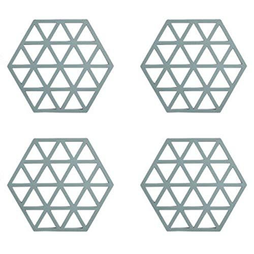 Hging 4 PCS Almohadilla de Aislamiento térmico de Silicona Anti-Scalding Tabla Mesa Hogar Aparta de Plato Antideslizante, Estera de tazón, montaña, Alfombra de Cocina. (Color : B)