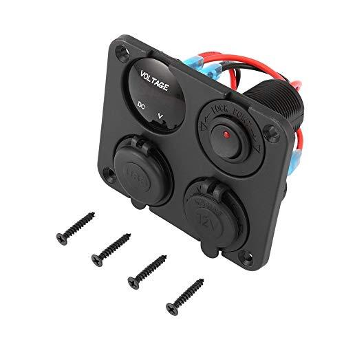 Dubbele USB-aansluitingen + LED-voltmeter + 12-24 V stopcontact + aan-uit-schakelplaat.