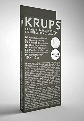 Krups XS300010 Pastillas limpiadoras para máquinas de café súper automáticas, pack de 10 pastillas, Elimina depósitos y los residuos grasos del café
