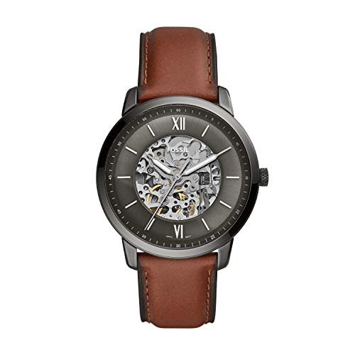 Fossil Men's Neutra Auto Automatic Leather Three-Hand Watch, Color: Smoke, Brown (Model: ME3161)