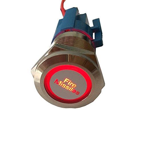 Mintice 19mm Rouge LED 12V Bouton Poussoir Voiture métal Interrupteur momentané Lumière intérieure Fire Missiles Prise de Courant
