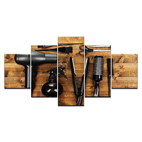 MXmama 5 Paneles Herramientas de peluquería Tijeras Peine Herramienta Impresión en HD Pintura sobre Lienzo/Arte en la Pared Imagen Barbería Decoración para el hogar-40x60 40x80 40x100cm sin Marco