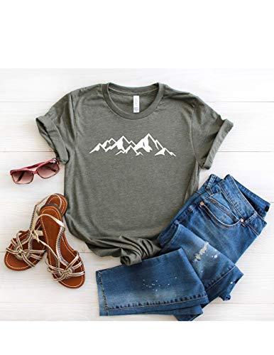 Mountain Range T Shirt Womens T-Shirt Casual Top Graphic Tee Short Sleeve Shirt Adventure T Shirt