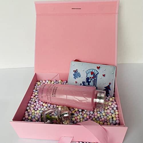 Caja de regalo rosa grande con tapa magnética y lazo, de alta calidad, rectangular, caja de regalo para bodas, San Valentín, cumpleaños, Navidad, anillos