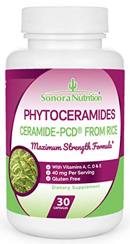 Phytoceramides Skin & Hair Renewal Formula, Ceramide-PCD from Rice with Vitamins A, C, D, & E, 40 mg Serving, 30 Capsules