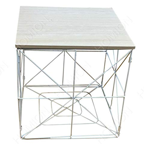 Modern Square Folding Foldable Wire Metal Storage Basket Side Table Bedroom Balcony Corner Tea Table (White, SMALL)
